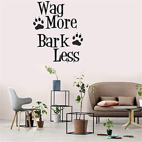 Vinyl Peel and Stick Mural Removable Decals Wag More and Bark Less for Living Room Bedroom Nursery Kids -