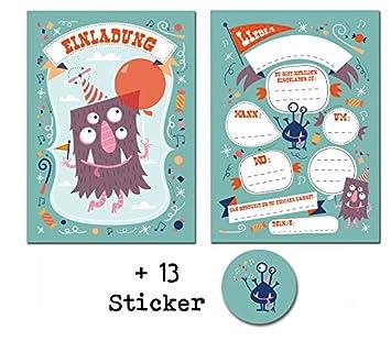 12 Tarjetas De Invitación Divertido Monster Para Cumpleaños