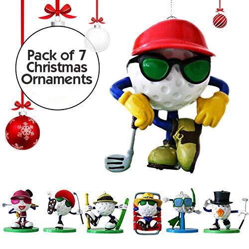 Be The Ball 4U Golf Decor Hanging Christmas Tree Ornaments & Display Stands, 7-Figurine Set