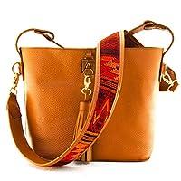 Bolsa Sol de Piel Camel con Llavero Marca AngeLozano Original 24x25x15cm