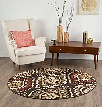 Universal Rugs Modesto Transitional Medallion Brown Round Area Rug, 8' Round