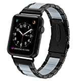 Greeninsync Apple Watch Bands Metal, Special Edition Fashion Stainless Steel Wristbands Buckle Clasp Watch Strap Replacement Bracelet W/ Silicone Cover Gray for Apple Watch Series 3/2/1 42mm 2017