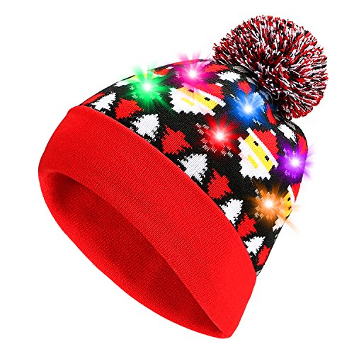 Pumice Led Light Up Beanie Colorful Leds Hat For Women Children Indoor And Outdoor  Best Gift Of Festival  Holiday  Celebration  Parties  Bar  Christmas