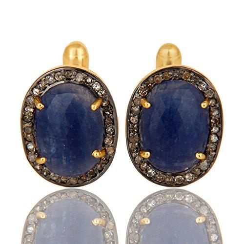 Pave Diamond Blue Sapphire Cufflink for Groomsmen Wedding Gift Silver Jewelry