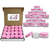(Quantity: 1000 Pieces) Beauticom 10G/10ML Round Clear Jars with Pink Lids for Cosmetics, Medication, Lab and Field Research Samples, Beauty and Health Aids - BPA Free