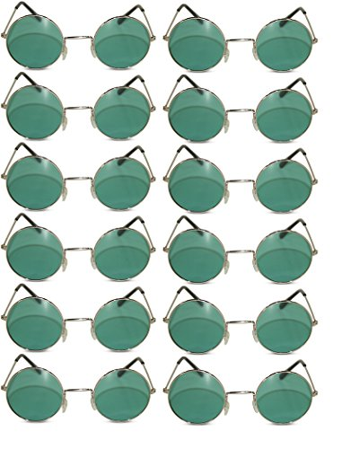 12 Pack Round Lennon Hippie Sunglasses w/ Various Colored Lens (Silver, Green Lens w/ Silver Frame)