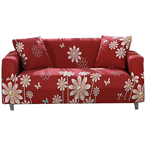 FORCHEER Sofa Slipcover Stretch Printed Cushion Sectional Couch Cover Fitted Leather Furniture Protection Pet for Living Room(Big Sofa,#Red18) (Leather Sectional Discount)