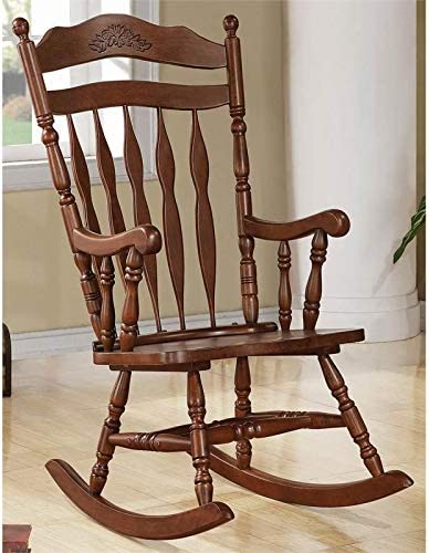BOWERY HILL Windsor Traditional Rocking Chair in Medium Brown