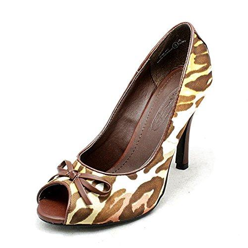 Brown Modellato Tacco Scarpe Peep Toe Alto Tribunale Sendit4me Signore Raso 7nz1nx