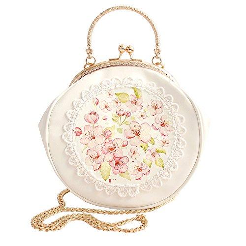 CHICOMP Elegant PU Leather Cherry Blossom Lace Handbag Lolita Shoulder Bag Crossbody Bag Kiss Lock Tote Bag Valentines Gift for Women