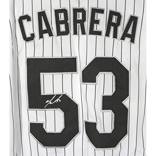 123a08269 well-wreapped Melky Cabrera Chicago White Sox Signed Autographed White  Pinstripe  53 Jersey