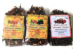 Red Berry Fruit-Tea With Sea Buckthorn Berries (Sea Berries), Black Currant And Many Anti-Oxidant Super-Foods To Boost Immune System! Cultivated and Imported from Germany (3-Pack) Herbal Teas