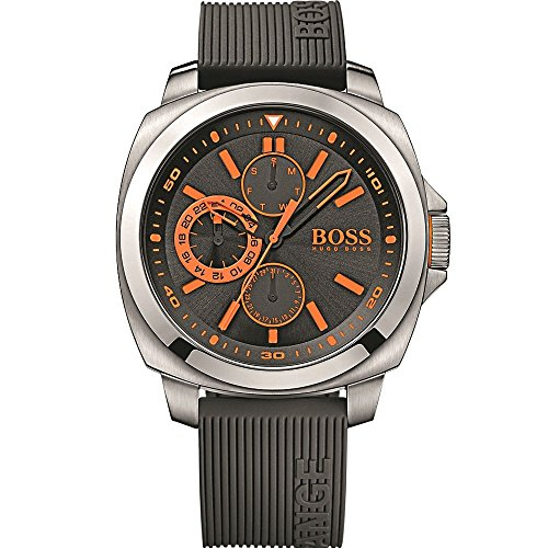 Hugo Boss Black Dial SS Silicone Multifunction Quartz Men's Watch 1513101