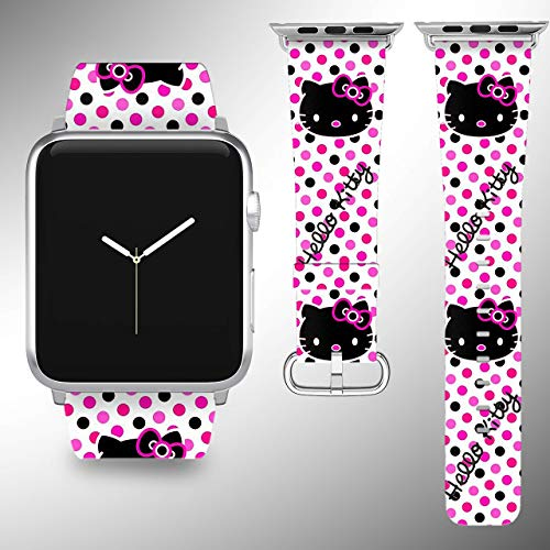 - Wrist band strap compatible with Apple Watch iWatch all series adapters 38mm 40 mm 42mm 44mm series 1 2 3 4 Leather Fabric strap with Hello kitty desing