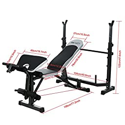 Ancheer Olympic Weight Bench Multi-Function Workout Bench Set with Preacher curl pad/Barbell/Resistance Band (US Stock)
