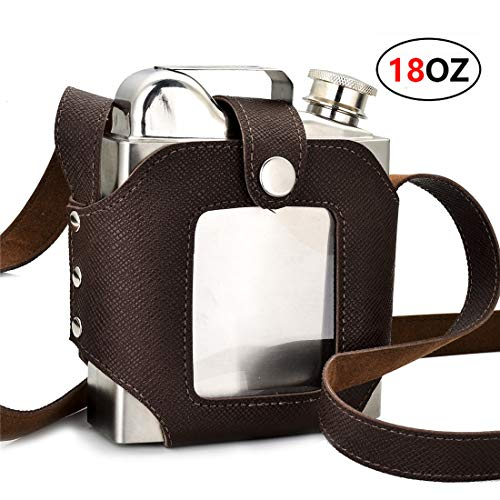 GENNISSY 18OZ Stainless Steel Hip Flask - Large Capacity Leather Sheath with Belt