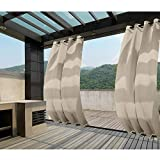 Macochico Outdoor Windproof Curtains Thermal Insulated Noise Reducing Lightproof Blackout Draperies Grommet at Top and Bottom for Patio Porch Gazebo Garden Beige 52W x 96L (1 Panel)