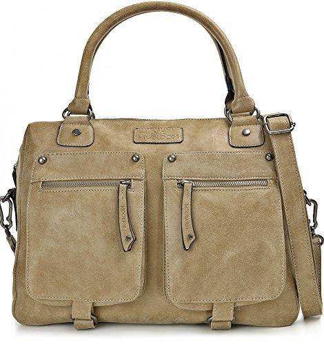 MIYA BLOOM, bolsos de señora, bolsos de compras, bandoleras, carteras, maletines, 40 x 30 x 13 cm (AN x AL x pr), color: gris arena