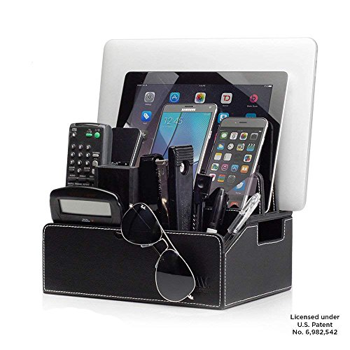 MobileVision Charging Station Faux Leather Executive Stand Multi Device Organizer w/Extension Use w/Apple iPhone/iPad, Samsung Galaxy, and Laptops