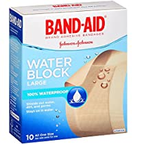 BAND-AID Adhesive Bandages, Water Block Large 10 Each (Pack of 6)