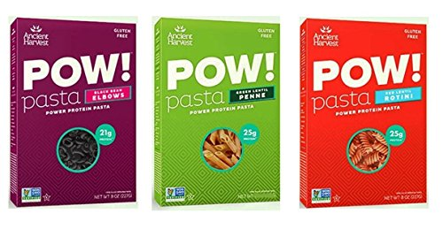 Ancient Harvest Gluten-Free POW! Pasta 3 Flavor Variety Bundle, 1 Each: Black Bean Elbows, Green Lentil Penne, Red Lentil Rotini (8 Ounces)