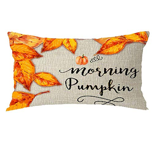 (Happy Thanksgiving Day Harvest Autumn Morning Pumkin Maple Leaf Holiday GIF Cotton Linen Throw Pillow Covers Case Cushion Cover Sofa Decorative Square 12x12 inch Decorative Pillow Wedding)