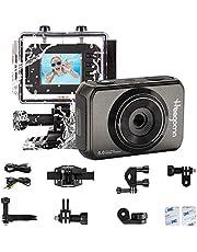 HG1270 Camera d'azione impermeabile per bambini, 1080P 5MP Fotocamera subacquea/Batteria ricaricabile/Videocamera con schermo LCD per bambini, prima fotocamera per bambini
