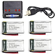 Cheerwing 3.7V 650mAh Lipo Battery (4PCS) with 4 in 1 Battery Charger for Syma X5SW X5 X5C X5C-1 RC Quadcopter Drone Parts