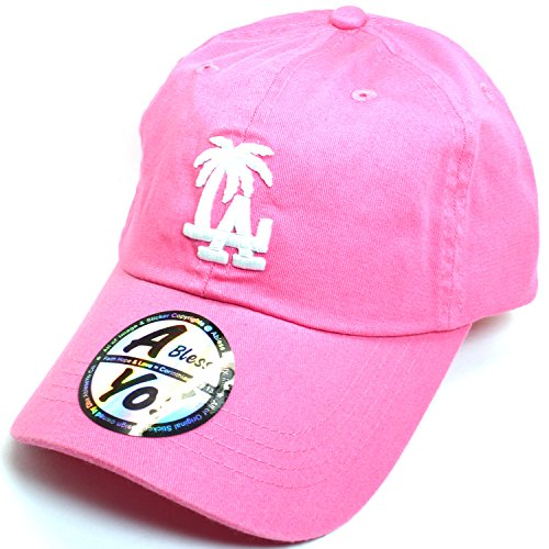 AblessYo LA Palm Tree Embroidered Baseball Golf Polo Style Unisex Cotton Cap AYO2015 (Pink)