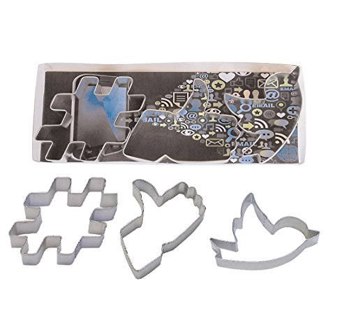 R&M International 1953A Social Media Symbol Cookie Cutters, Hashtag, Thumbs Up, Tweet, 3-Piece Set (Cookie Cutter Tweet)