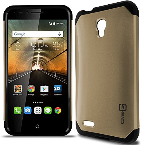 OneTouch Go Play Case, One touch Conquest Case, CoverON Slim Guard Series Slim Dual Layer Armor Hard Cover Thin TPU Phone Case For Alcatel One Touch Go Play / Conquest - Gold Black