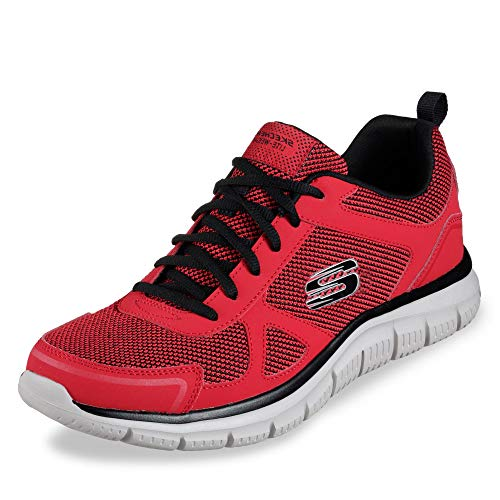 Skechers Track Bucolo Mens Sneakers Red/Black 12 (The Best Track Running Shoes)