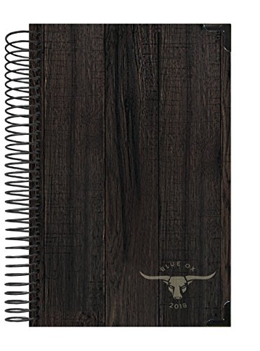 """Blue Ox Day Planner 2018 Calendar Year + Daily Planner - Passion/Goal Organizer - Monthly Datebook and Calendar - January 2018 - December 2018 - 6"""" x 8.25"""" - Dark Woodgrain Style HARD COVER"""