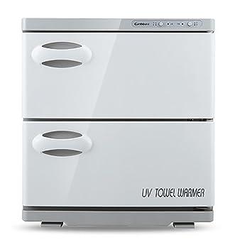 2 en 1 Toalla Calentador 32L UV Caliente Toalla Esterilizador Doble Gabinete UV Esterilizador Uñas Salón Spa Facial Belleza Salón Desinfectante Herramienta: ...