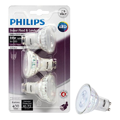 philips led gu10 dimmable 35 degree spot light bulb 400 lumen 3000 kelvin 6 watt 50 watt. Black Bedroom Furniture Sets. Home Design Ideas