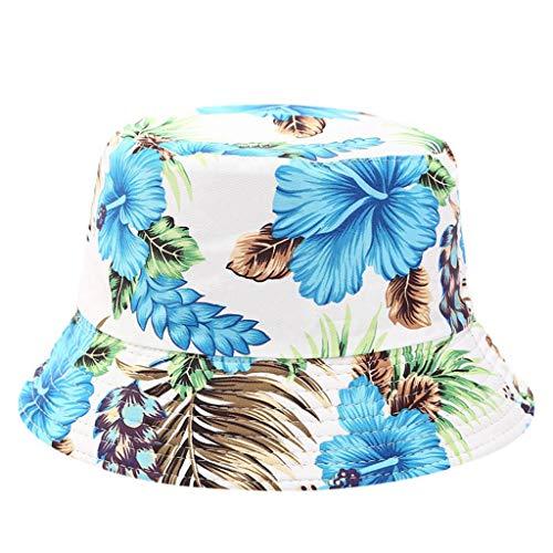 iLXHD Men Women Fishing Hat Printing Double-Sided Wearing Visor Travel Folding Basin Fishing Hat