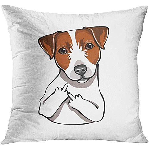 Throw Pillow Cover Brown Russel Jack Russell Terrier The Middle Finger Dog Comic Cartoon Pet White Animal Adult Decorative Pillow Case Home Decor Square 18x18 Inches Pillowcase