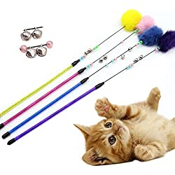 gainvictorlf Pet Supplies Colorful Cat Teaser Toy Bell Plush Ball Stretchable Interactive Pet Play Wand - Random Color