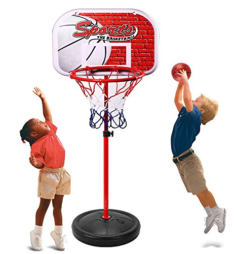 Erencook Adjustable Basketball Set Portable Basketball Hoop Goal Outdoor Sports Toys Game For Kids (59in(150cm))