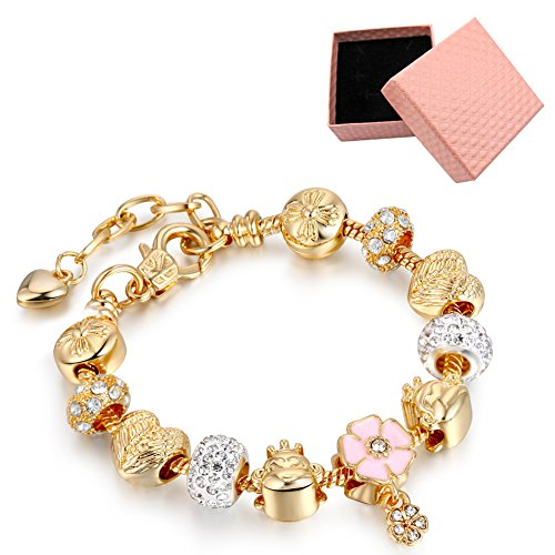 (LSENG Bracelets Gold Plated Snake Chain Bracelets Pendant Pink Flower Glass Crystal Beads Charms Bracelets for Women with Fine Gift)