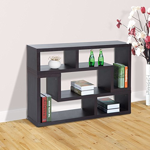TV Stand Console Storage Table Open Shelf Modern in Black Durable
