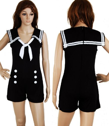[Jumpsuit Black Sailor Nautical 50s Pin up Vintage Retro Rockabilly Women's Playsuit M] (Holiday Pin Up Costumes)