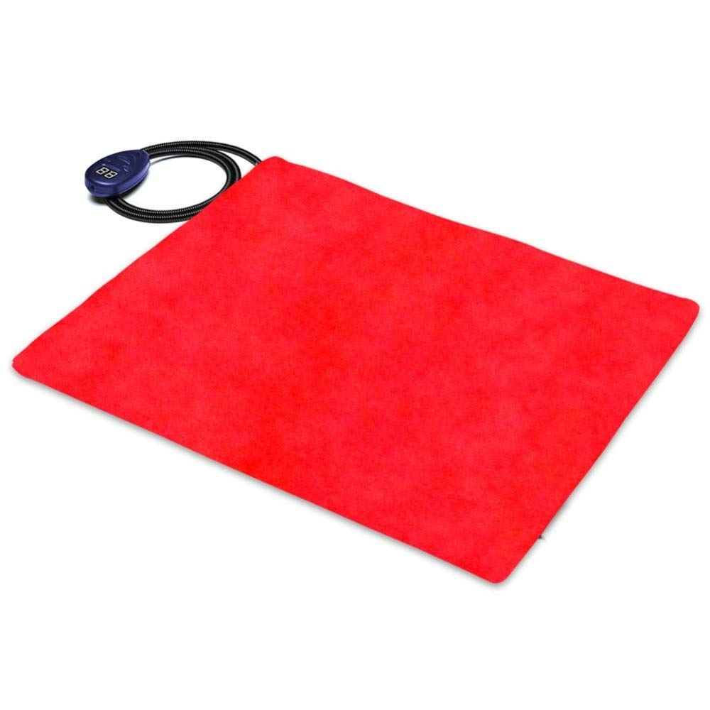 Red Pet Electric Blanket Waterproof 12V Heating Pad Bed Heater Mat for Puppy Cat Bunny 15.7  X 11.8 ,Red