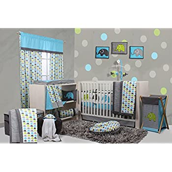 Image of Baby Bacati - Elephants Aqua/Lime/Grey 10 Pc Crib Set Including Bumper Pad