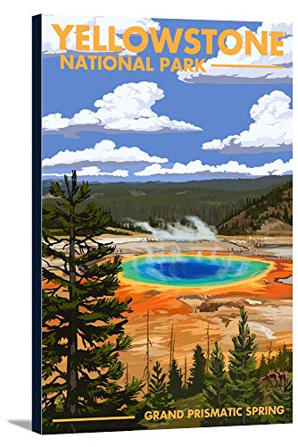 Yellowstone National Park - Grand Prismatic Spring (24x36 Gallery Wrapped Stretched Canvas)