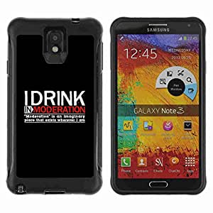 A-type Arte & diseño Anti-Slip Shockproof TPU Fundas Cover Cubre Case para Samsung Galaxy Note 3 III / N9000 / N9005 ( Funny Drink Moderation Alcohol Sign )