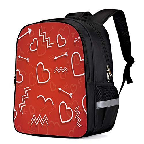 School Backpacks for Girls/Boys/Kids, Red and White Geometric Hearts Arrow and Waves Pattern Printed Primary School Bags Students Bookbag Laptop Bag Travel Casual Daypacks