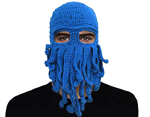 GIANCOMICS Funny Tentacle Octopus Beanie Crochet Knit Beard Hat Fisher Cap Wind Ski Mask Blue