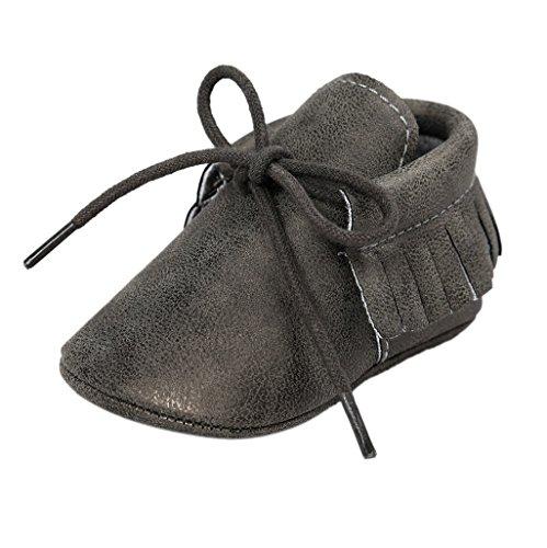Baby Schuhe Auxma Baby Soft Sohle Anti-Rutsch Quasten Prewalker Schuhe Erste Walking Schuhe Für 3-6 6-12 12-18 Monat (3-6 M, Dunkelbraun) Dunkelgrau