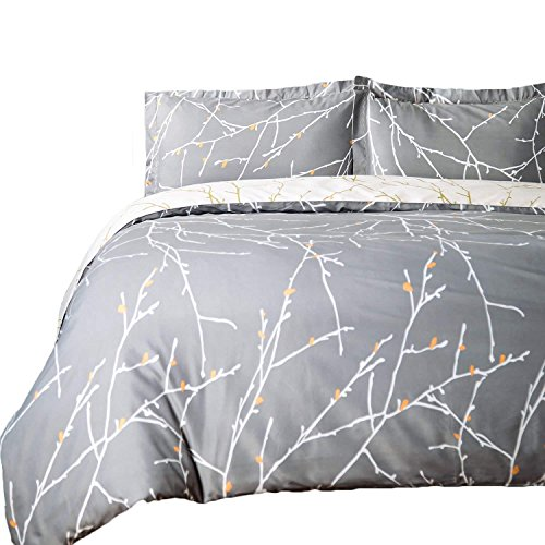(Bedsure Duvet Cover with Shams Set with Zipper Closure - 3 Piece Printed Pattern Comforter Insert Cover Full/Queen Size (104